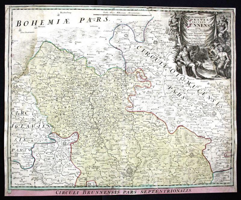 Ca. 1750 Brno Trebic Moravska Trebova Czech Ceska Karte map antique print Homann