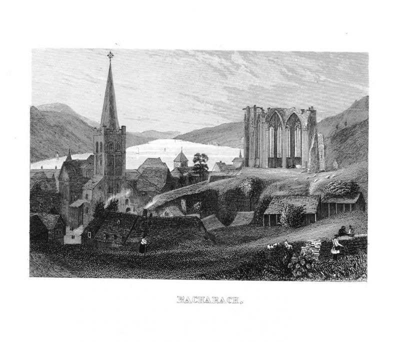 1840 - Bacharach Wernerkapelle St. Peter Rhein Stahlstich engraving Original