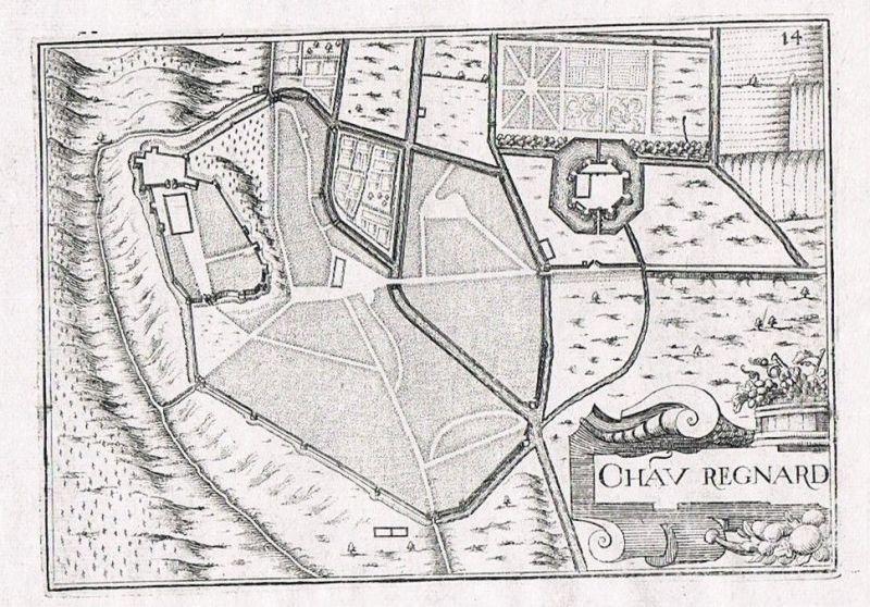 1660 Chateau-Renard Loiret Provence-Alpes-Cote d'Azur gravure Kupferstich  60587
