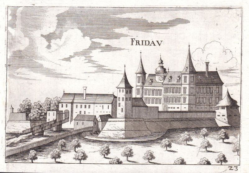 1672 Fridau Ober-Grafendorf Kupferstich antique print Vischer