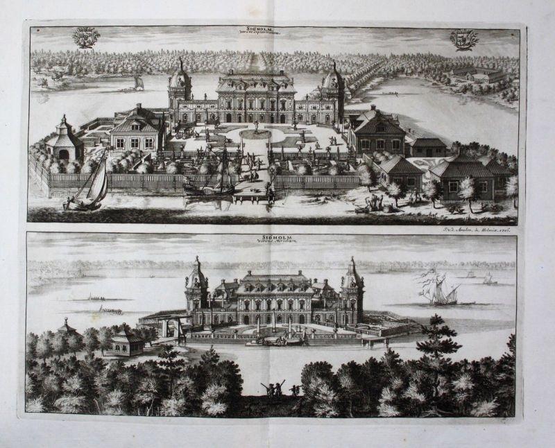 1710 - Sjoholm Katrineholm Södermanland Kupferstich Dahlberg engraving