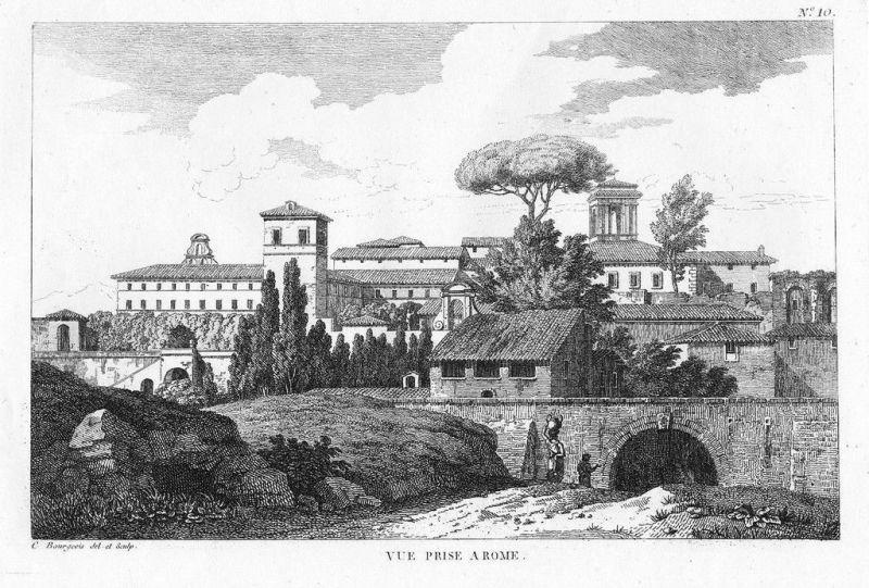 1804 - Roma Rom Rome incisione stampe Bourgeois acquaforte veduta 55738
