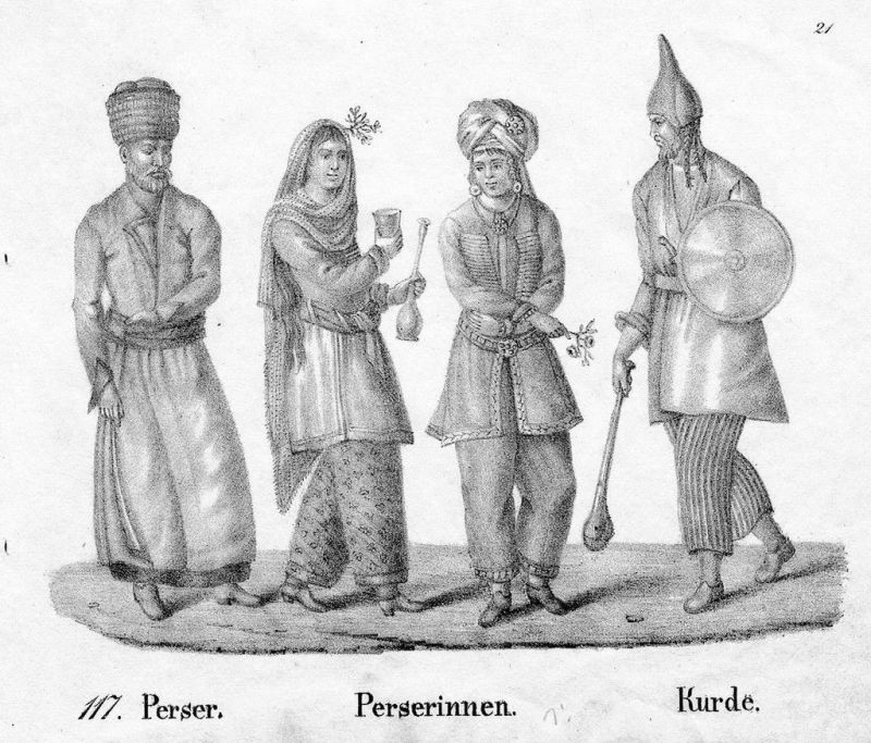1830 - Persien Persia costumes Trachten Lithographie lithograph litho