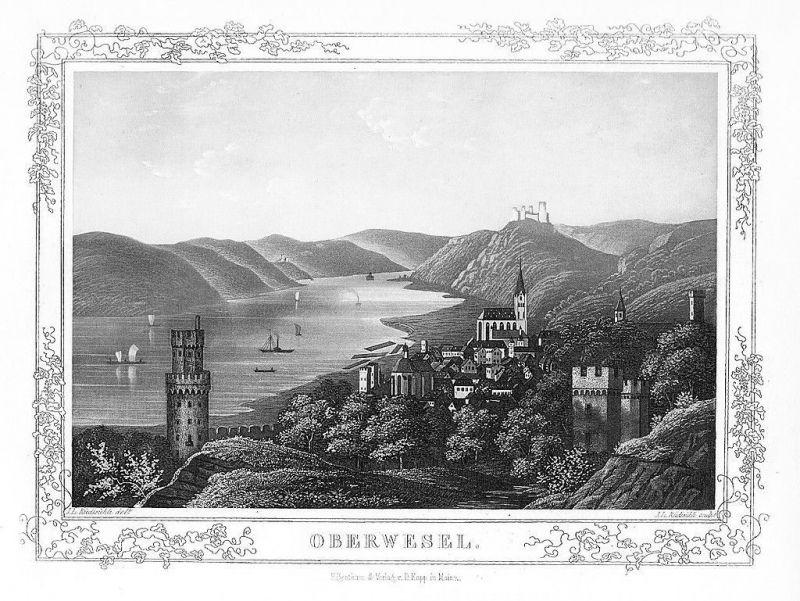 1850 - Oberwesel Gesamtansicht Original Aquatinta aquatint antique print