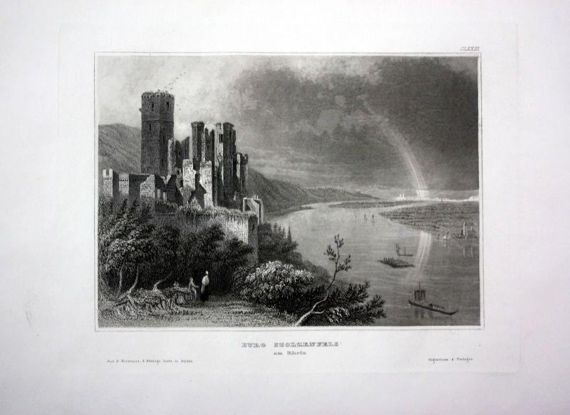 1840 - Burg Schloss Stolzenfels Rhein Rheinland Pfalz engraving Stahlstich