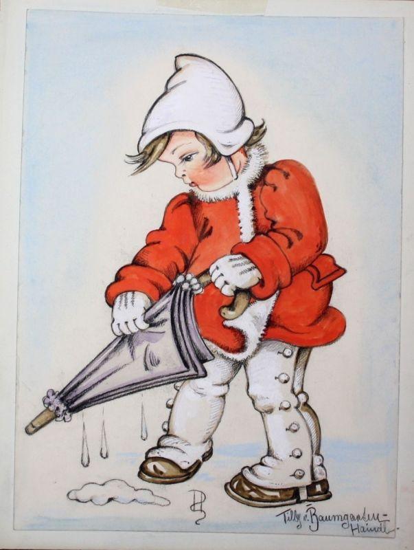 1930 - Mädchen Kind Regenschirm Zeichnung Aquarell Tilly von Baumgarten