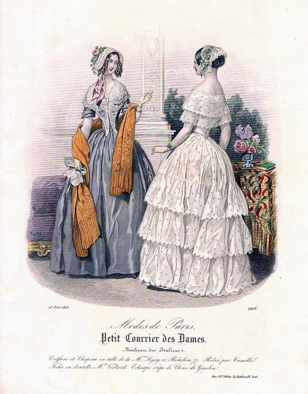 1846 Biedermeier Mode Kupferstich victorian fashion antique print etching  89736 0