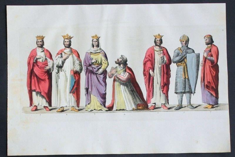 1825 - Könige von Frankreich Rois de France Aquatinta aquatint antique print