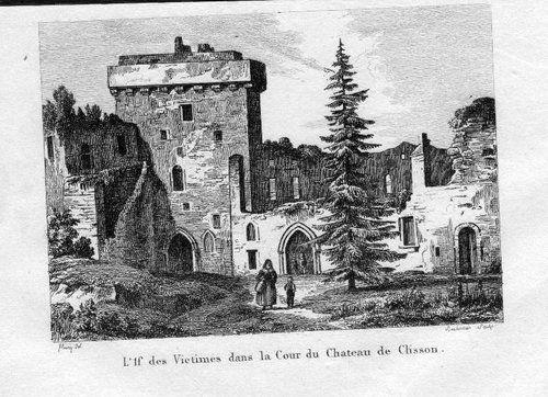 1840 - Chateau de Clisson Clisson gravure Stahlstich engraving gravure
