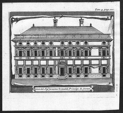 1700 - Genova incisione engraving Original Kupferstich  acquaforte carta veduta