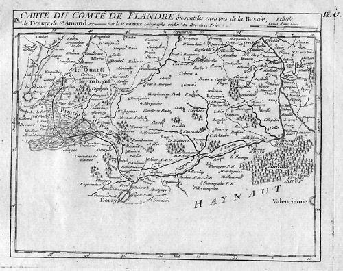 1780 - La Bassee Douai France Map Kupferstich Vaugondy carte gravure Karte