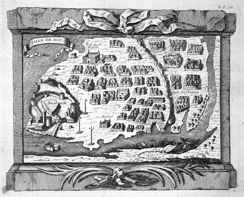 1750 Diu Island Insel India Karte map Portrait Kupferstich antique print Bellin