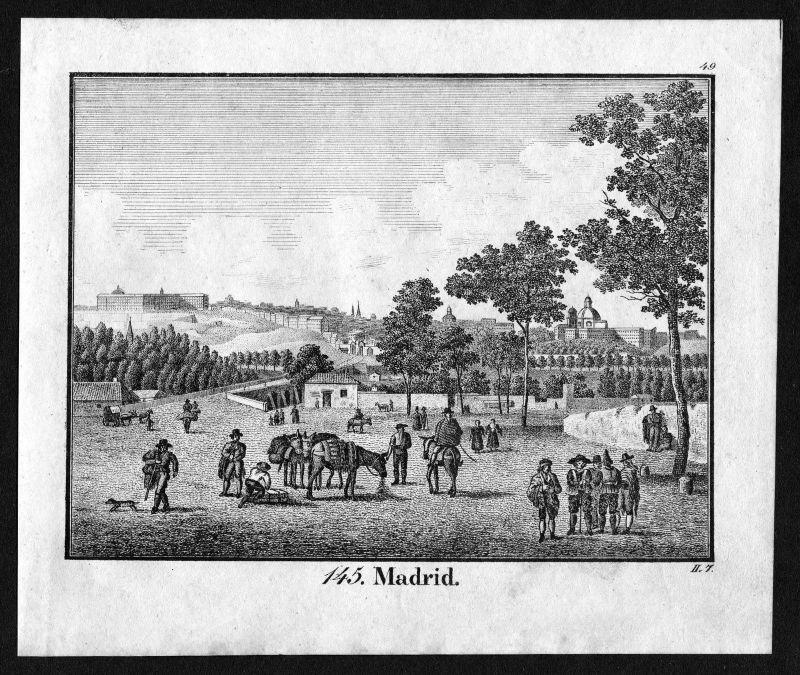 1830 - Madrid Spanien Spain Espana Ansicht view Lithographie antique print