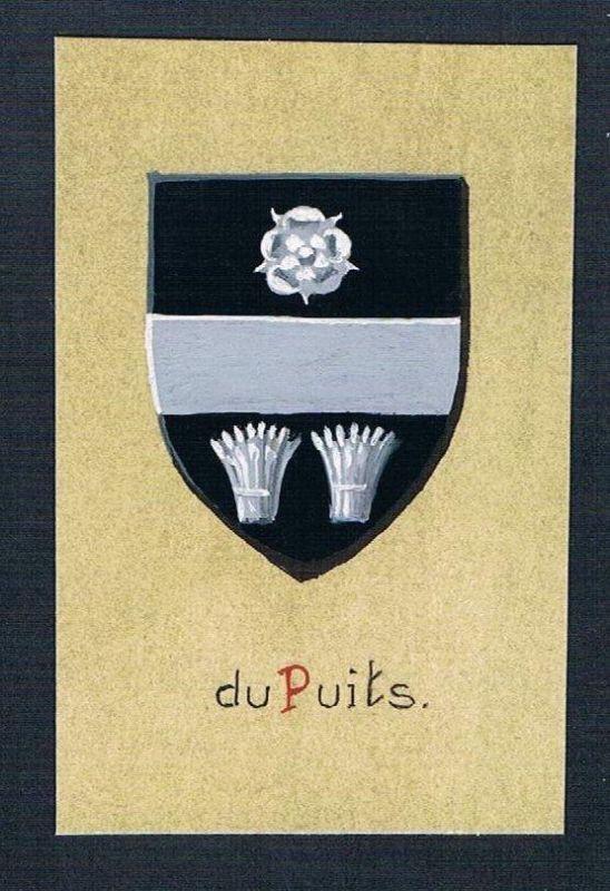 19./20. Jh. - du Puits Blason Aquarelle heraldique Heraldik coat of arms