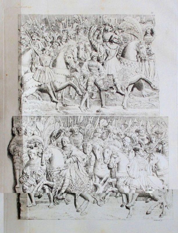 1825 - Ritter knights Mittelalter Original Aquatinta aquatint antique print
