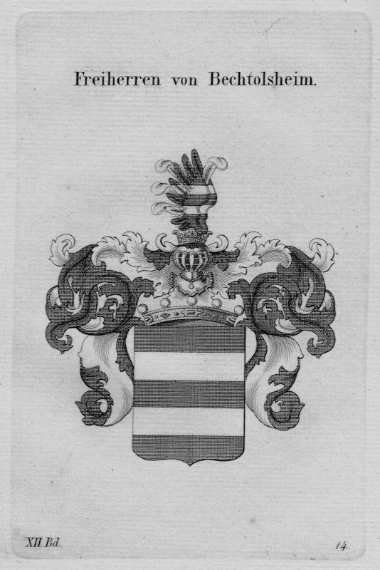 1820 - Bechtolsheim Wappen coat of arms heraldry Heraldik Kupferstich