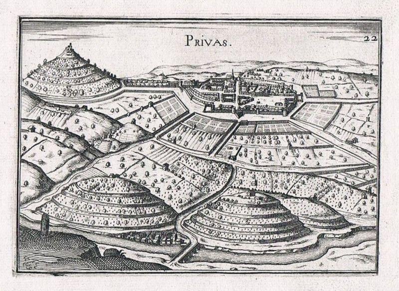 1660 - Privas Rhone-Alpes Ardeche France gravure Kupferstich Original Tassin