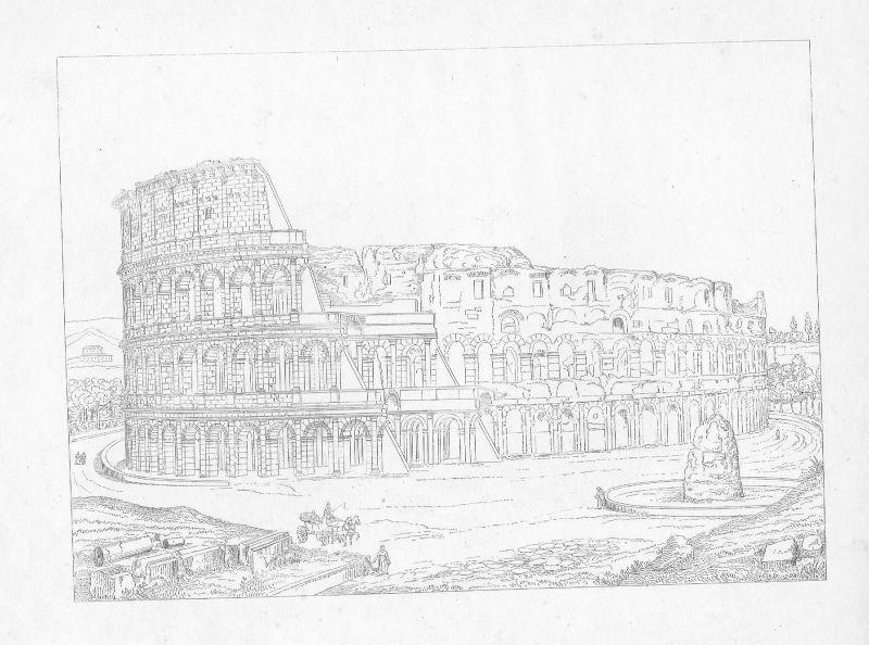 1800 - Kolosseum Rom Colosseum incisione Roma Italia Kupferstich acquaforte