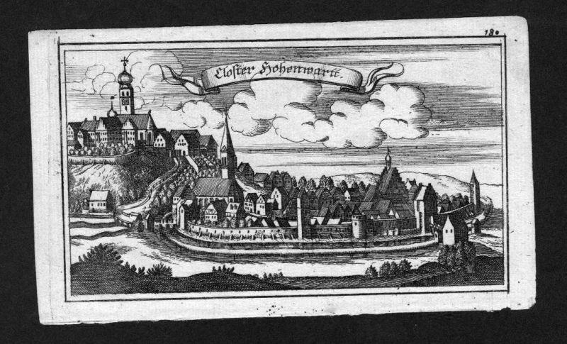 1700 - Hohenwart Kloster Oberbayern Bayern Original Kupferstich Ertl
