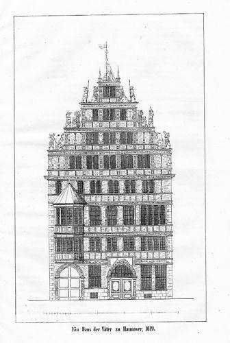 1840 - Hannover Haus der Väter Lithographie