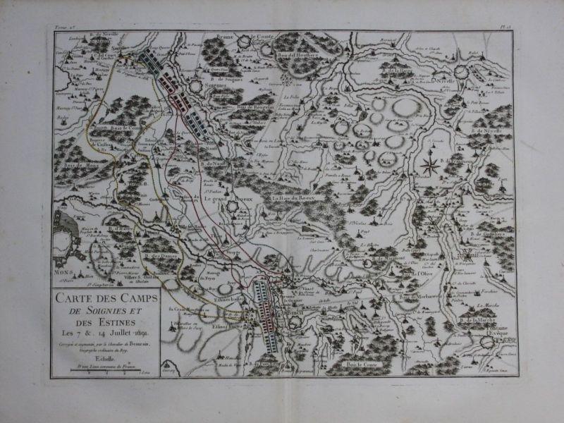 1760 - Binche Mons le Roeulx Fontaine l Eveque map Karte Kupferstich gravure
