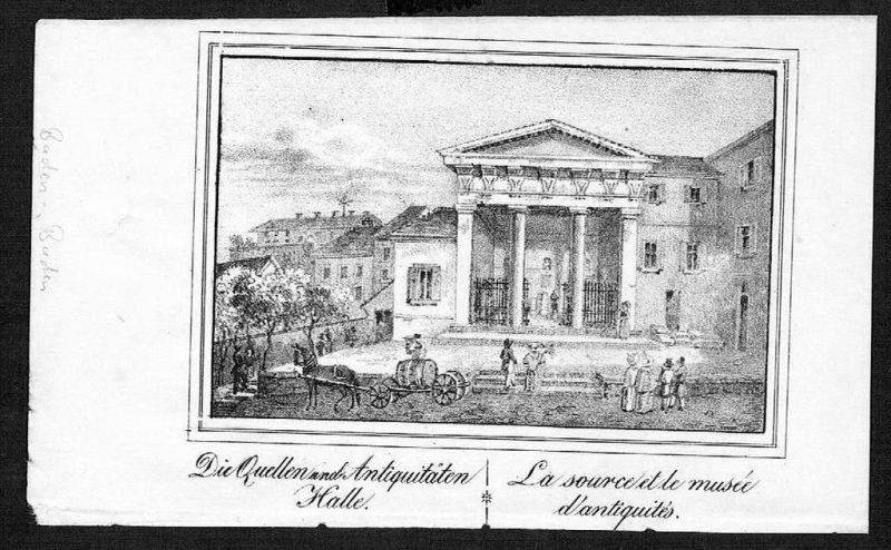 1830 - Baden-Baden Antiquitäten-Halle Lithographie lithograph litho