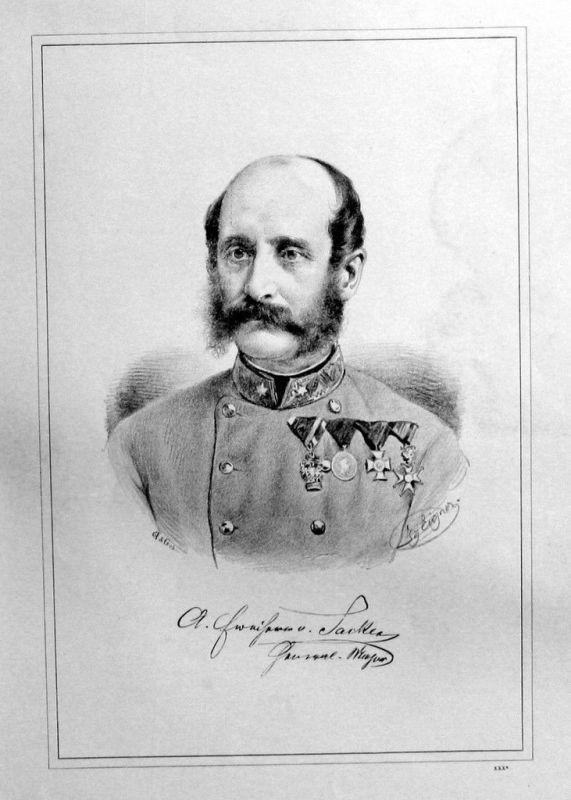 1880 - Adolf Freiherr von Sacken Original Lithographie Portrait Litho