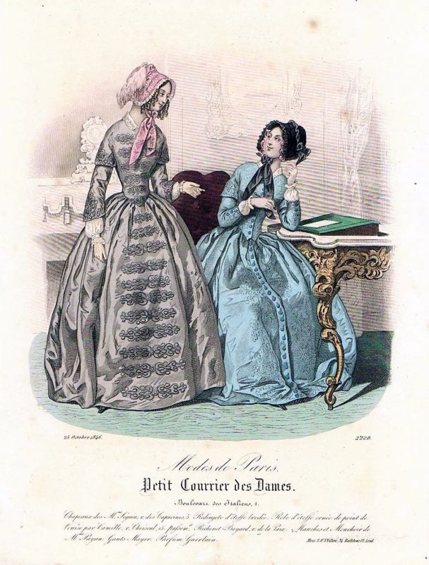 1846 Biedermeier Mode Kupferstich victorian fashion antique print etching  89742