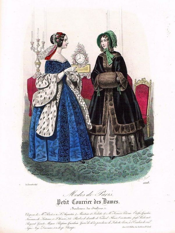 1846 Biedermeier Mode Kupferstich victorian fashion antique print etching  89739