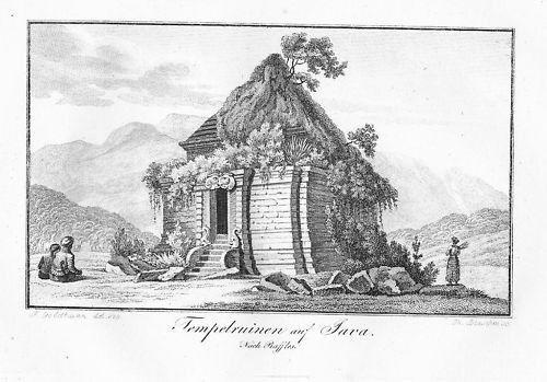 1820 - Java Temple Indonesia engraving Kupferstich