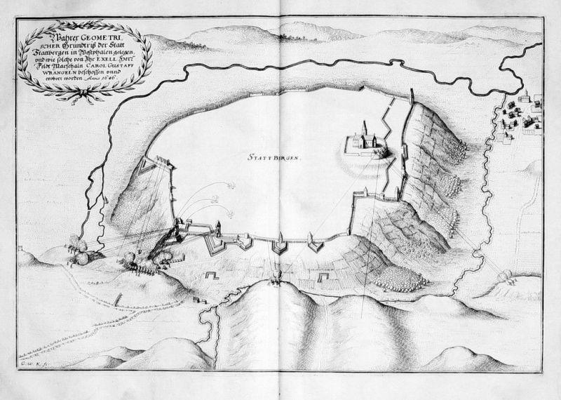 1650 - Obermarsberg Marsberg Belagerung Kupferstich Merian engraving