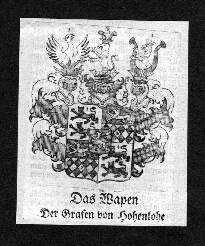 1750 - Hohenlohe Wappen Adel coat of arms heraldry Heraldik Kupferstich