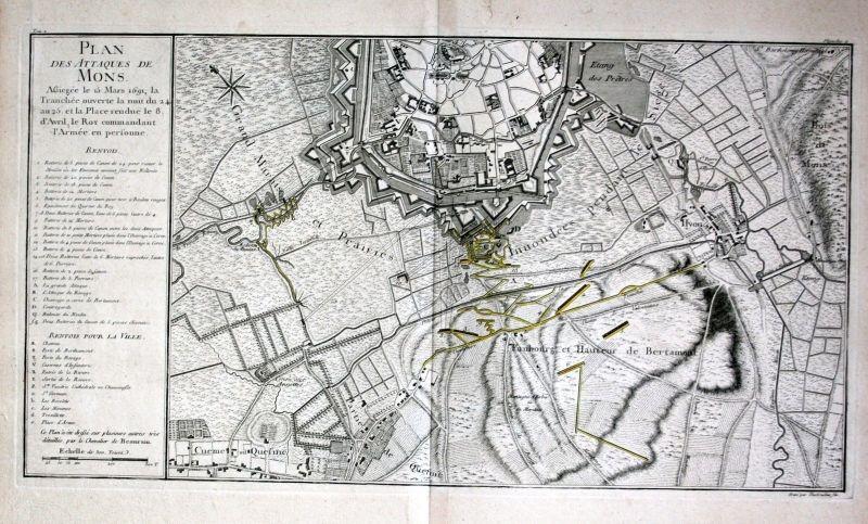 1780 - Mons Bergen Plan ville gravure Kupferstich etching Karte carte gravure