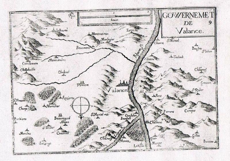 1660 - Valence Drome Rhone France gravure Original Kupferstich Tassin