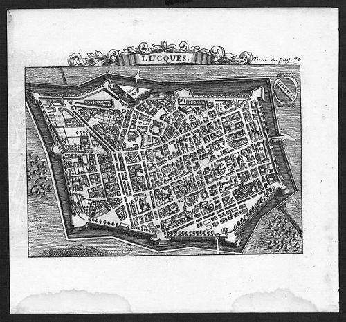 1700 - Lucca incisione engraving Kupferstich  acquaforte carta veduta