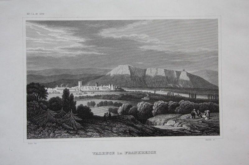 1840 - Valence Drome Frankreich France vue Ansicht gravure Stahlstich engraving