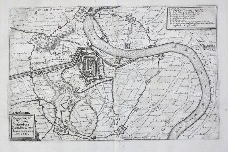 1660 - Rheinberg Rhein Belagerung Original Kupferstich Merian