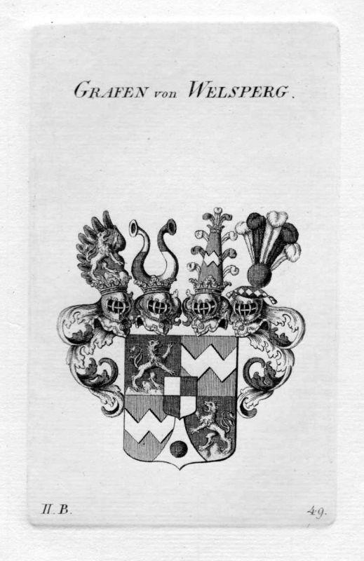 1820 - Welsperg Welsberg Wappen Adel coat of arms heraldry Heraldik Kupferstich