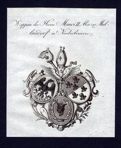 1780 -Mauri Mallersdorf Niederbayern Kupferstich Wappen