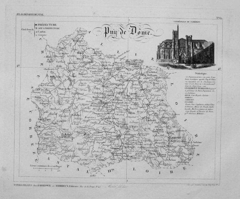 1830 - Departement Puy de Dôme carte gravure Kupferstich Karte map France