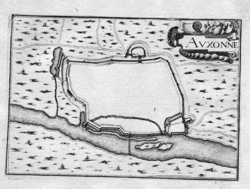1630 - Auxonne Cote-d'Or Bourgogne Gravure Tassin map estampe