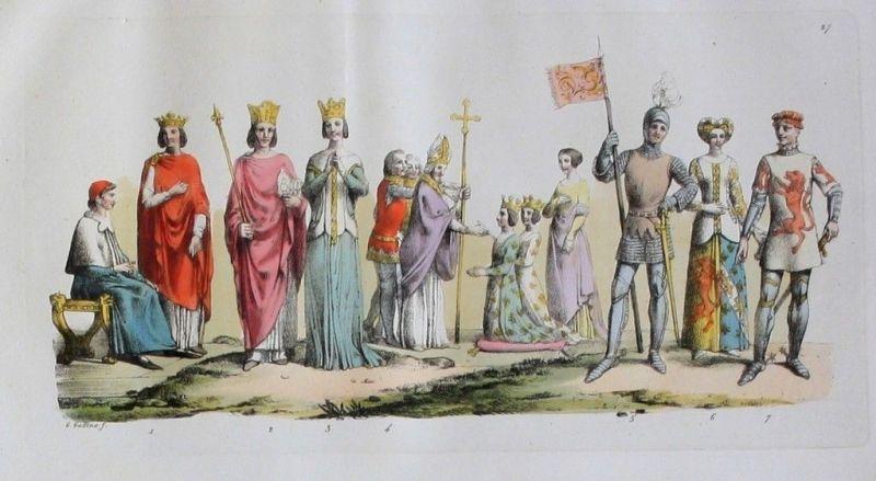 1825 - Ritter Könige Mittelalter knights Aquatinta aquatint antique print