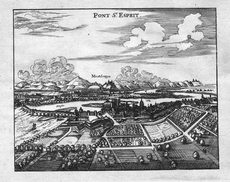 1700 Pont-Saint-Esprit Gard gravure estampe Kupferstich engraving