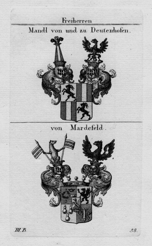 1820 - Mandl Deutenhofen Mardefeld Wappen Adel coat of arms heraldry Kupferstich