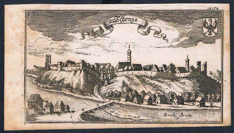 1705 - Schongau am Lech Ertl Kupferstich engraving