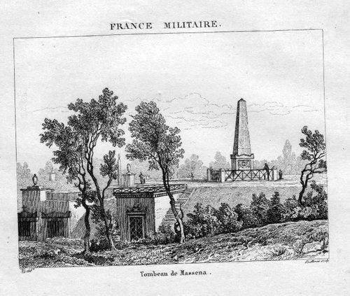 1840 - Paris Père Lachaise Tombeau Massena Stahlstich engraving gravure