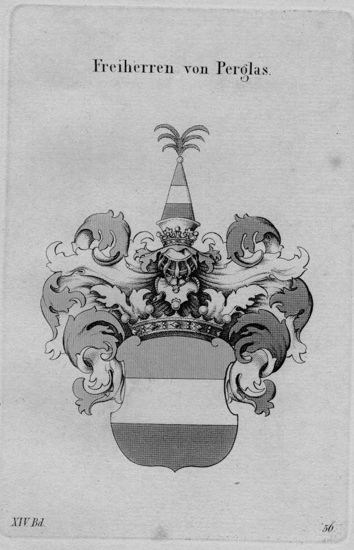 1820- Perglas Wappen Adel coat of arms heraldry Heraldik Kupferstich
