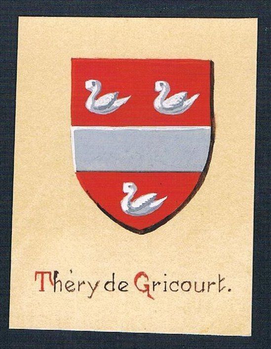 19./20. Jh. - Thiery de Gricourt Blason Aquarelle heraldique coat of arms