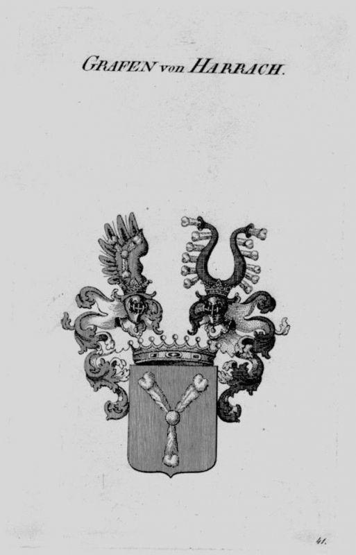 1820 - Harrach Wappen Adel coat of arms heraldry Heraldik crest Kupferstich