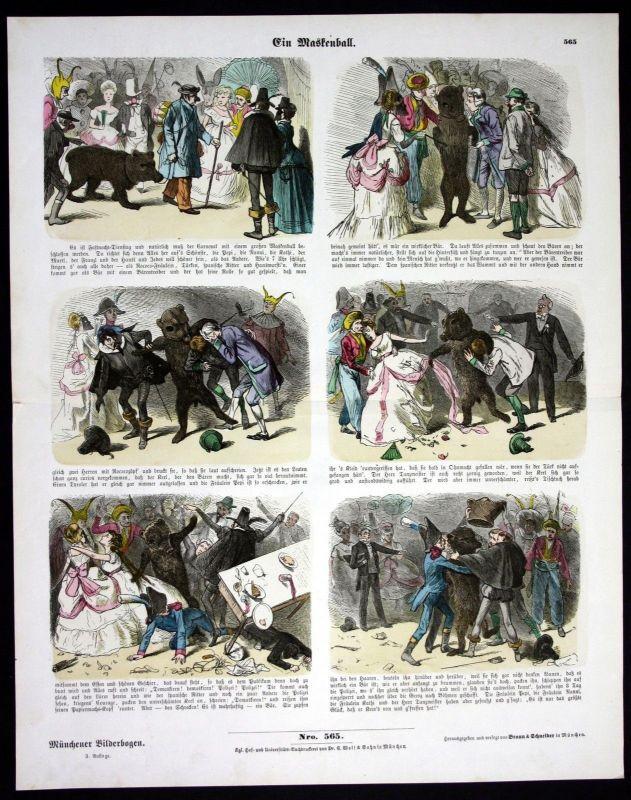 1890 Maskenball Karneval Faching Bär Braunbär Münchener Bilderbogen
